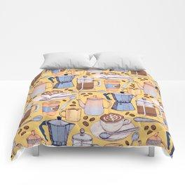 Coffee Love on Yellow Comforters