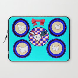 A Country Wall of Plates with Chickens and a Bow with Blue back Laptop Sleeve