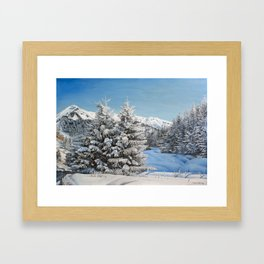 """Oil painting """"Winter in mountains"""" Framed Art Print"""