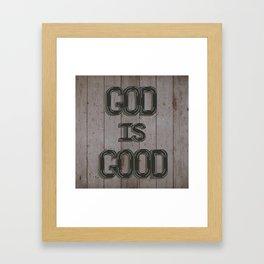 Wood sign God Is Good Framed Art Print