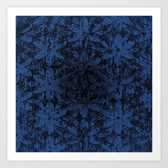 Blue Halftone Flowers II Art Print