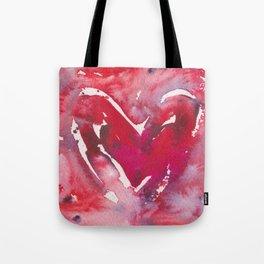 """Red Heart Love"" Red Pink & Magenta Valentine Ombre Heart Original Watercolor by Doreen Koch Allen Tote Bag"