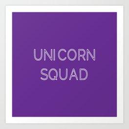 Unicorn Squad - Purple and White Art Print