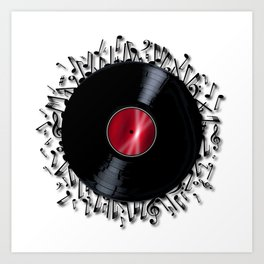 Musical Notes Record Art Print