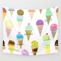 ice cream Wall Tapestries featuring Ice cream  by maria carluccio