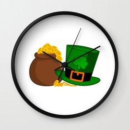 ST PATRICKS DAY Shamrock GOLD KETTLE Gift Kids Wall Clock