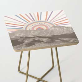 Summerlin Mountain Up // Abstract Vintage Mountains Summer Sun Surf Beach Vibe Drawing Happy Wall Ha Side Table