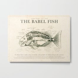 Babel Fish Anatomy (Monochrome) Metal Print
