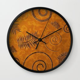 Graphic Fossil Leaf and Shell Shapes Red Sand Pattern Wall Clock