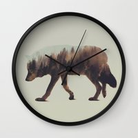 andreas preis Wall Clocks featuring Norwegian Woods: The Wolf by Andreas Lie
