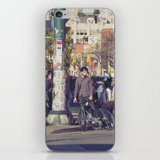 man in helmet stares wistfully across a busy intersection... iPhone & iPod Skin