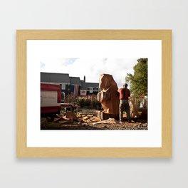 Wood Carving Bear Framed Art Print
