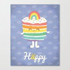Happy Rainbow Cake Canvas Print