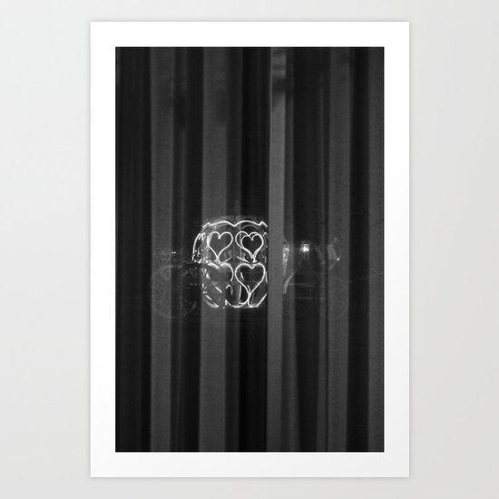 Heart carriage in window reflection  Art Print