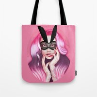cherry blossom Tote Bags featuring Cherry Blossom by Wendy Stephens