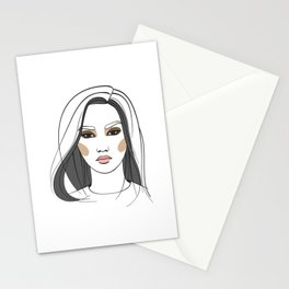 Asian woman with long hair. Abstract face. Fashion illustration Stationery Cards