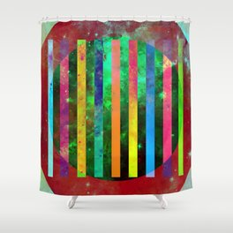 Galactic Stripes - Abstract, geometric, space themed artwork Shower Curtain