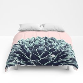 Blush Navy Blue Agave Chic #1 #succulent #decor #art #society6 Comforters