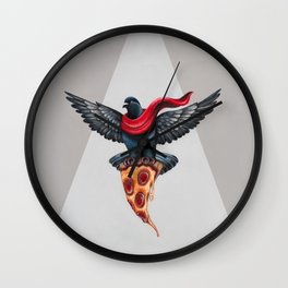 Pigeon with Pizza Wall Clock