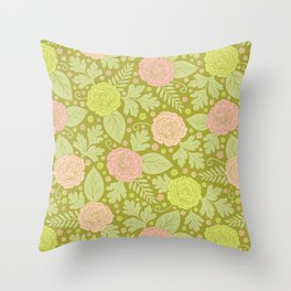 Fresh Spring Flowers - Pink, Peach & Green Floral Pattern Throw Pillow