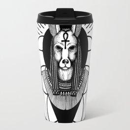 Anubis Black and White Illustration Travel Mug