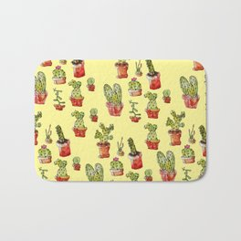 Cacti on yellow Bath Mat