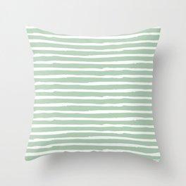 Elegant Stripes Pastel Cactus Green and White Throw Pillow