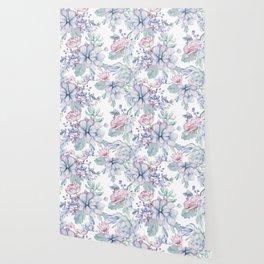 Pretty Blue Pink Succulents Garden Wallpaper