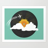 records Art Prints featuring Sunburst Records by Dianne Delahunty