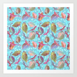 Lizards and More Leaves Art Print
