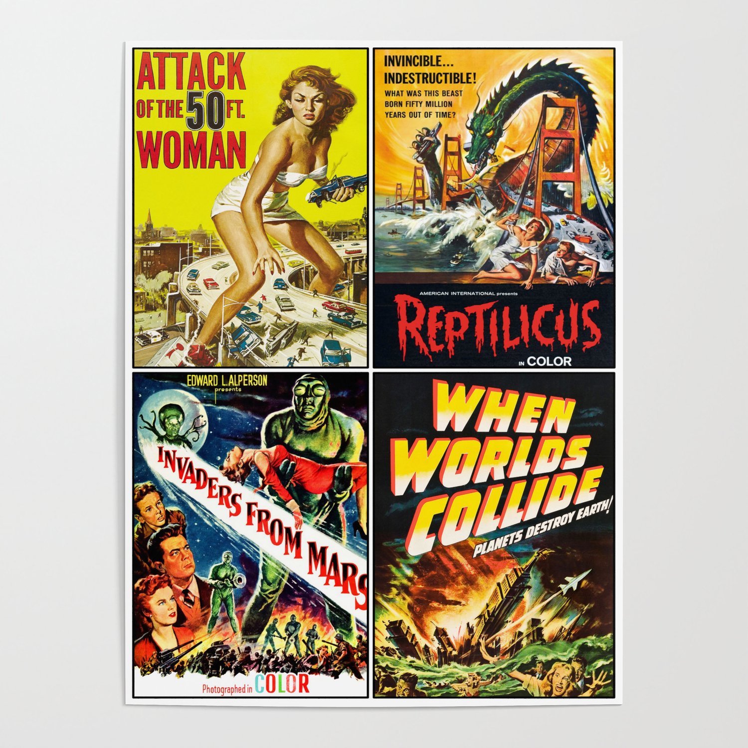 50s Sci Fi Poster Collage 2 Poster By Rockettgraphics