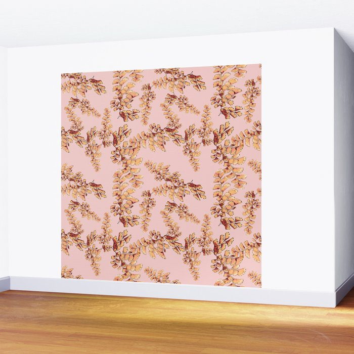 Gold leaves pattern Wall Mural