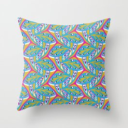 Bright Seedpods in the Wind Abstract Nature Geo Pattern in Pink , Green and Turquoise Color Palette Throw Pillow