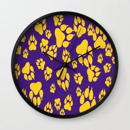 Purple and Gold Tiger Claws Pattern Digital Design Wall Clock