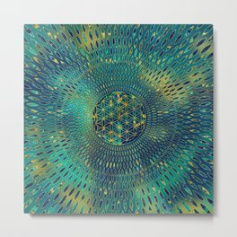 Flower of life Marble and gold Metal Print