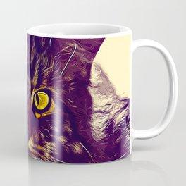 squinting maine coon cat vector art foggy night Coffee Mug