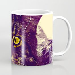 squinting maine coon cat vector art foggy night Coffee Mug