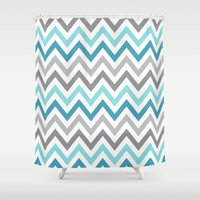 tina crespo Shower Curtains featuring TINA CHEVRON 2 by JUNE blossom
