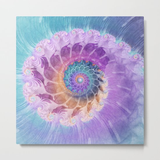 Painted Fractal Spiral in Turquoise, Purple, and Orange Metal Print