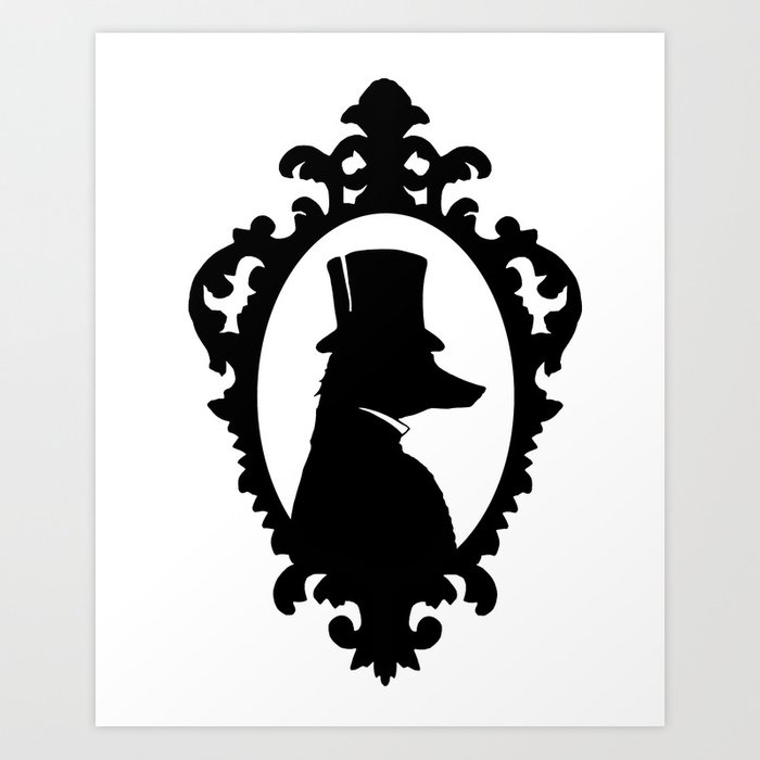 The fox gentleman silhouette art print black and white top hat victorian art print