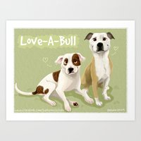 pit bull Art Prints featuring Love-A-Bull Pit Bull by Bark Point Studio