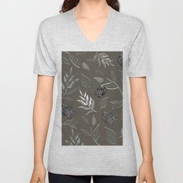 Simple and stylized flowers 17 Unisex V-Neck
