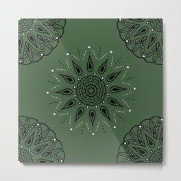 Central Mandala Jade Green Metal Print