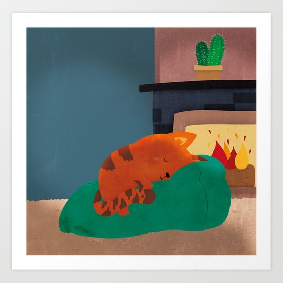 A Nice Winter Snooze In Front Of The Fire Art Print