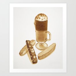 Coffee Latte and Biscotti Art Print