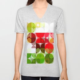 Red Rose with Light 1 Abstract Circles 3 Unisex V-Neck