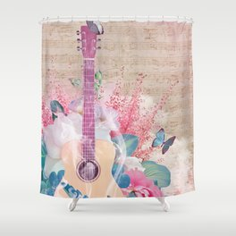 Floral Guitar Shower Curtain