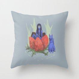 fairy and kitten Throw Pillow