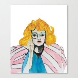 Yellow hair and pink jacket Canvas Print