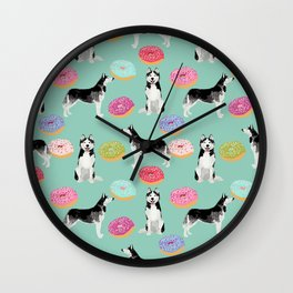 Husky donuts cute dog portrait pet friendly dog art husky puppies must have gifts for dog lover Wall Clock